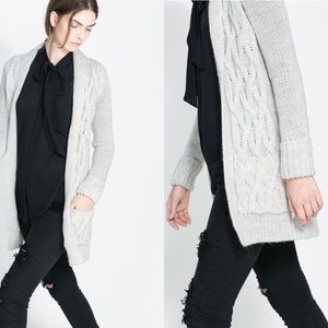 ZARA KNIT • Cable Knit Ivory Cardigan with Lapel